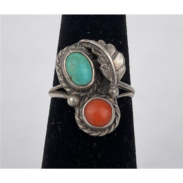 Sterling Silver Navajo Turquoise Coral Ring