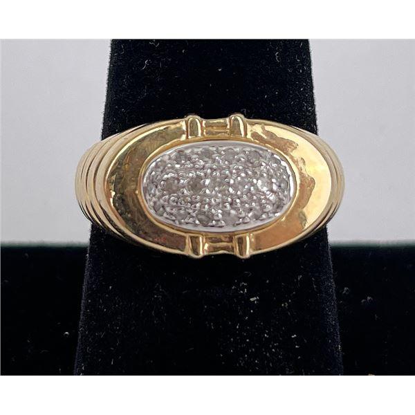 14k Yellow Gold and Diamond Mens Ring