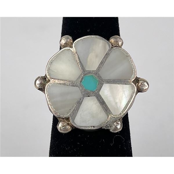 Zuni Sterling Silver Mother of Pearl Inlay Ring
