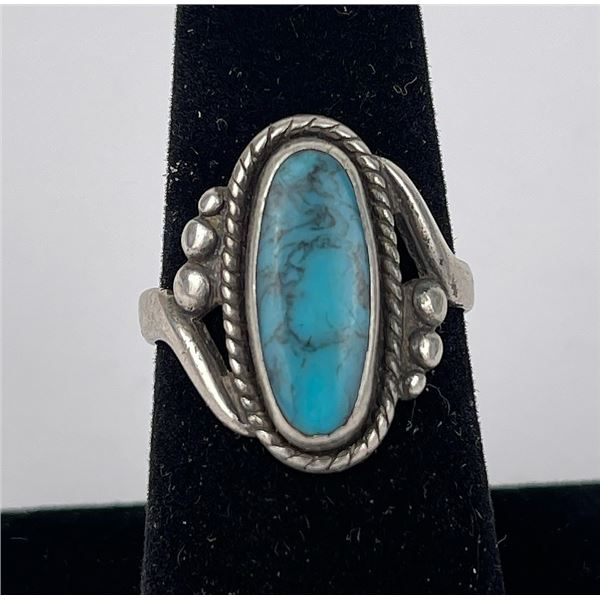 Navajo Sterling Silver Turquoise Bell Trading Ring
