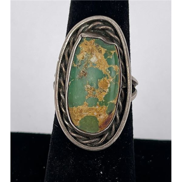 Old Pawn Navajo Sterling Silver Turquoise Ring