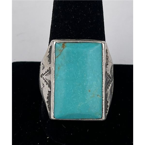 Navajo Sterling Silver Turquoise Ring Bell