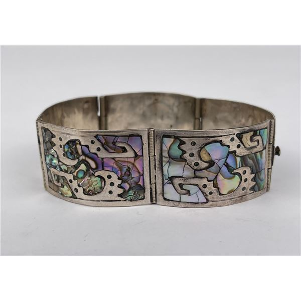 Taxco Mexico Sterling Silver Abalone Bracelet