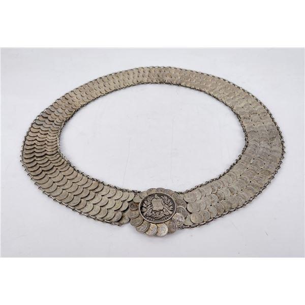 Guatemala Trench Art Silver Coin Flapper Belt