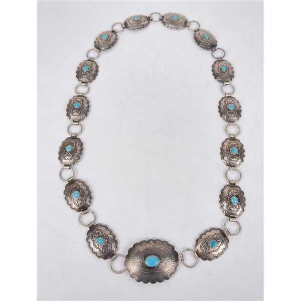 Sterling Silver Turquoise Navajo Concho Belt