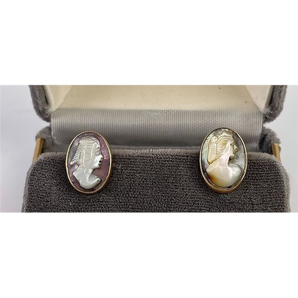 14k Yellow Gold Abalone Cameo Earrings
