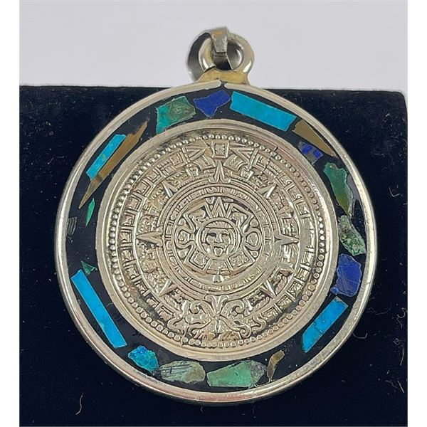 Mexican Sterling Silver Inlaid Aztec Pendant