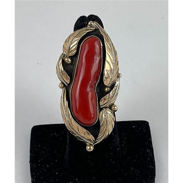 Sterling Silver 14k Gold Coral Navajo Ring