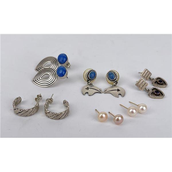 Group of Sterling Silver Gemstone Earrings