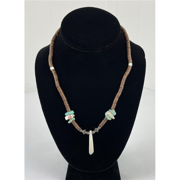 Navajo Heishi Turquoise Mother of Pearl Necklace