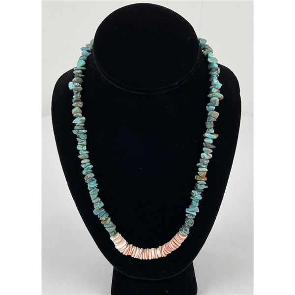 Navajo Turquoise Nugget and Shell Necklace