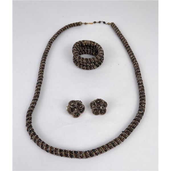 Vintage Hobe Seed Bead Necklace and Earrings