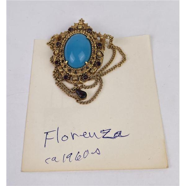 Vintage Florenza Etruscan Revival Brooch