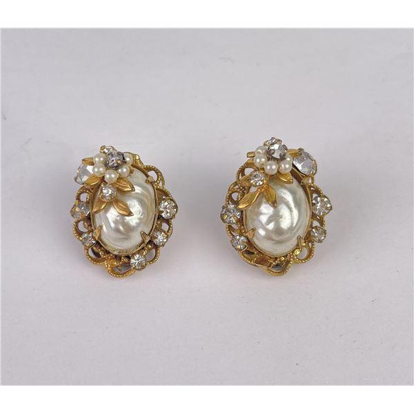 Vintage Robert Pearl Rhinestone Earrings