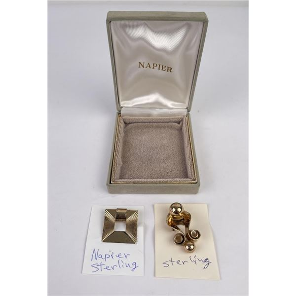 Pair of Sterling Silver Napier Brooches
