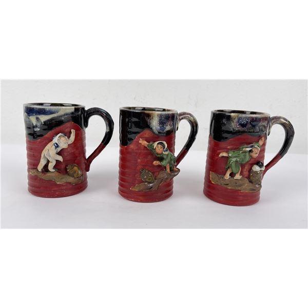 Set of 3 Antique Sumida Gawa Japanese Mugs