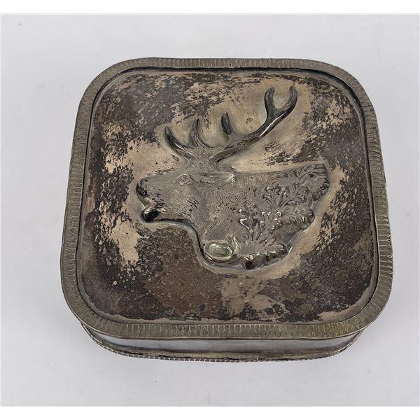 Silver Plate Elk Trinket Box