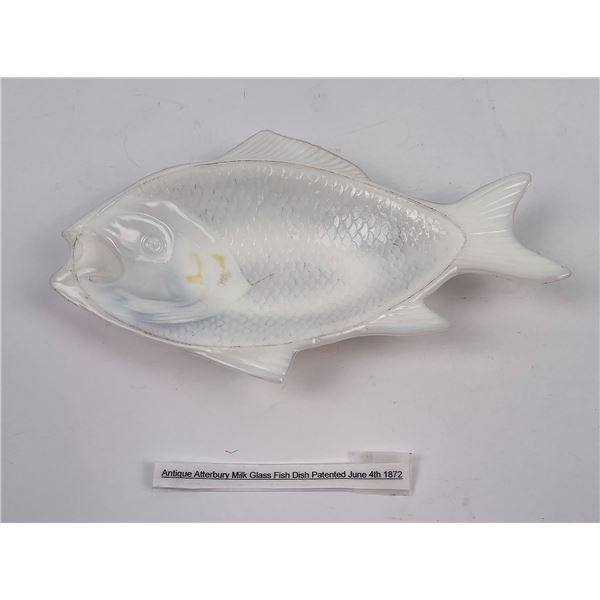 Antique Atterbury Milk Glass Fish Butter Dish