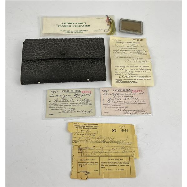Lot of Antique Hunting Licenses and Fishing Fly