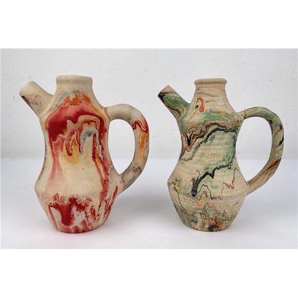 Pair of Nemadji Pottery Pitchers