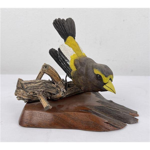Wesley Tuttle Grosbeak Wood Carving