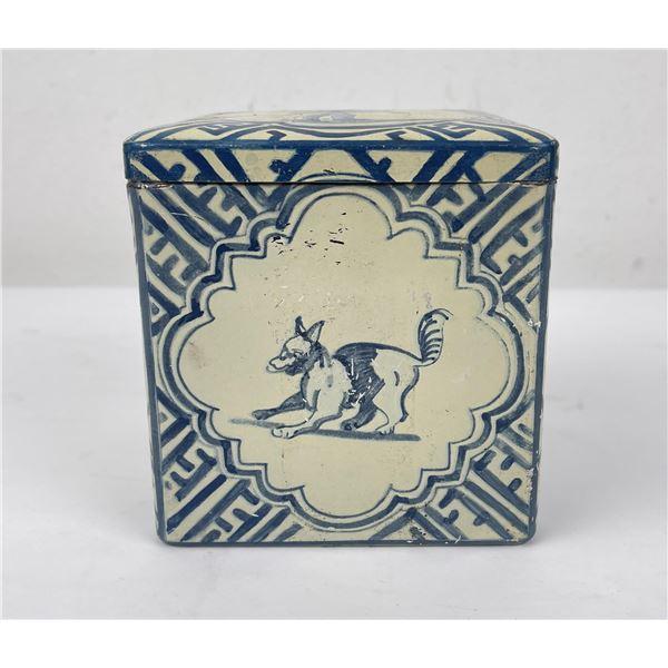 Blue White Dutch Pattern Tin Biscuit Box