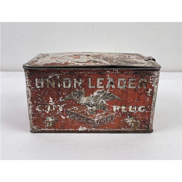 Antique Union Leader Cut Plug Tin
