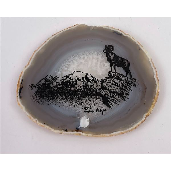 Hand Painted Geode Slice Bighorn Sheep