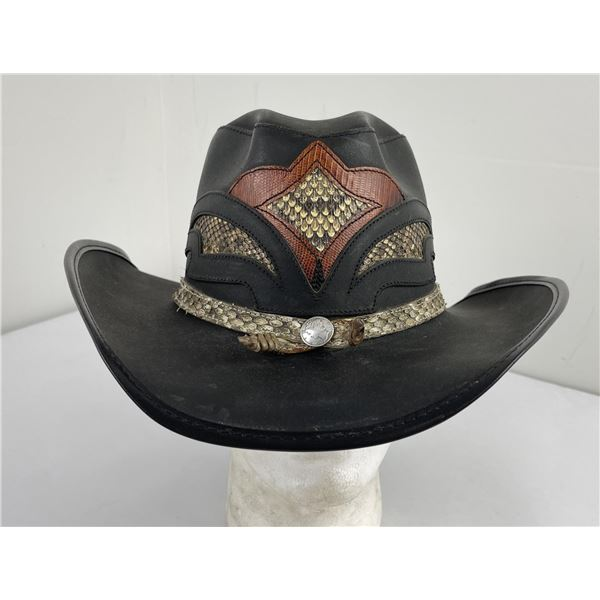 Vintage Double G Leather Cowboy Hat