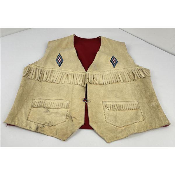 Montana Indian Beaded Fringed Leather Vest