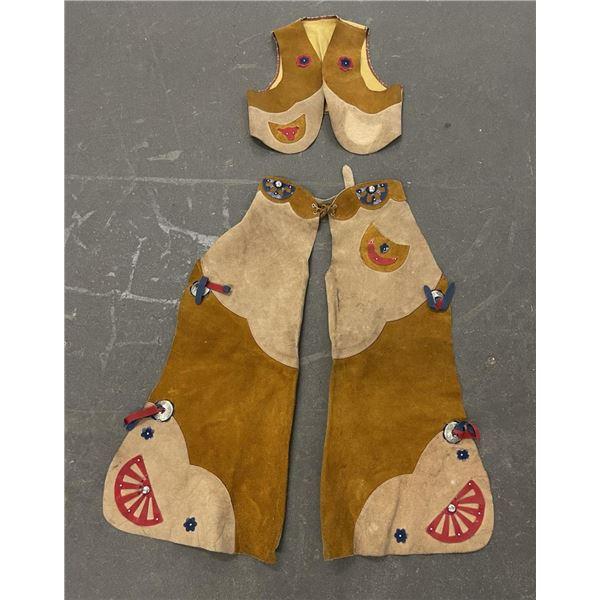 Vintage Kids Cowboy Outfit Chaps Vest