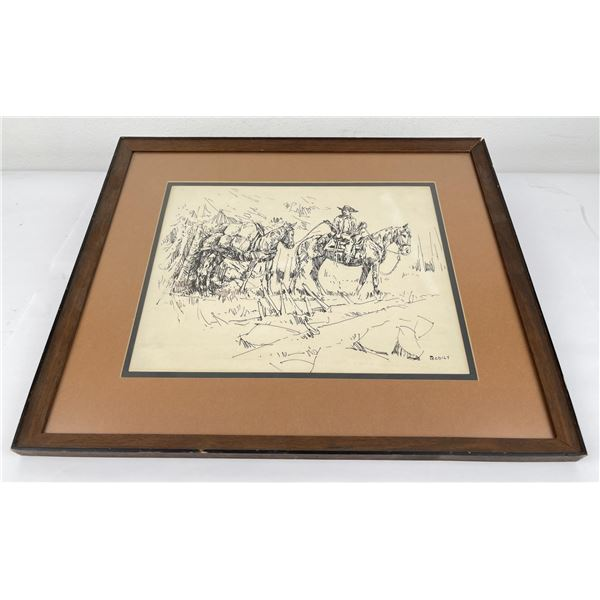 Sheryl Bodily Cowboy Signed Pen and Ink Drawing