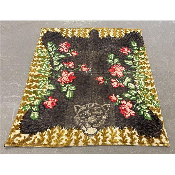 Antique Black Bear Wool Sleigh Lap Blanket