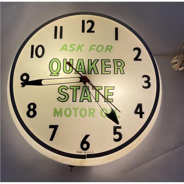 Quaker State Motor Oil Advertising Clock