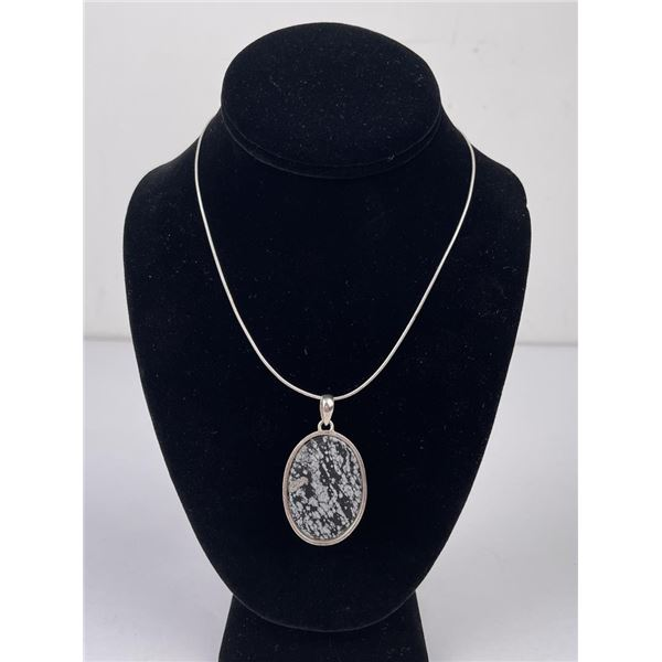 Sterling Silver Necklace and Stone Pendant