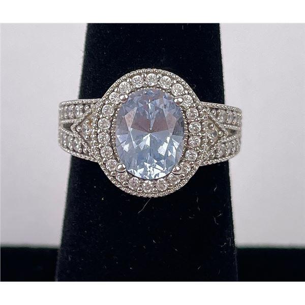 Sterling Silver CZ Blue Stone Ring Ripka
