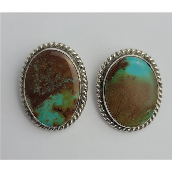 Navajo Chee Sterling Silver Turquoise Earrings