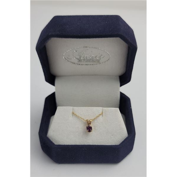 10k Yellow Gold Amethyst Necklace