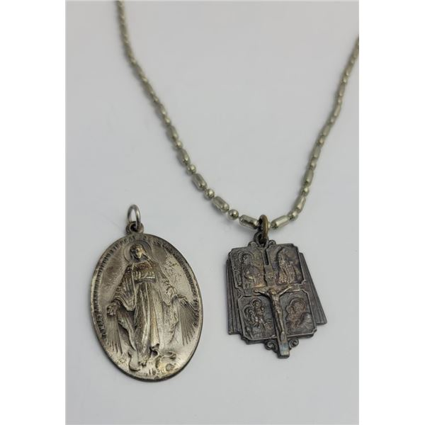 Pair of Sterling Silver Catholic Necklace Pendants