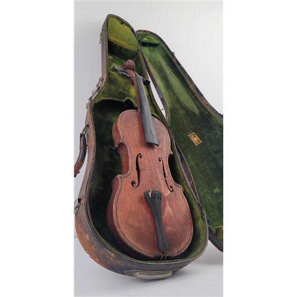 Antique American Folk Art Oak Violin