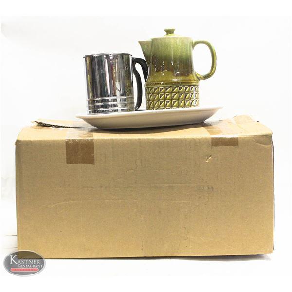 BOX OF PLATERS / TEA POTS