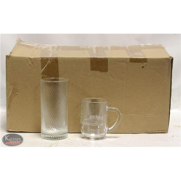 BOX OF ASSORTED WINE GLASSES / COFFEE MUGS
