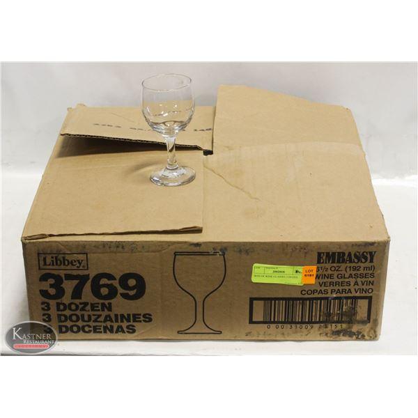 BOX OF WINE GLASSES 3 DOZEN