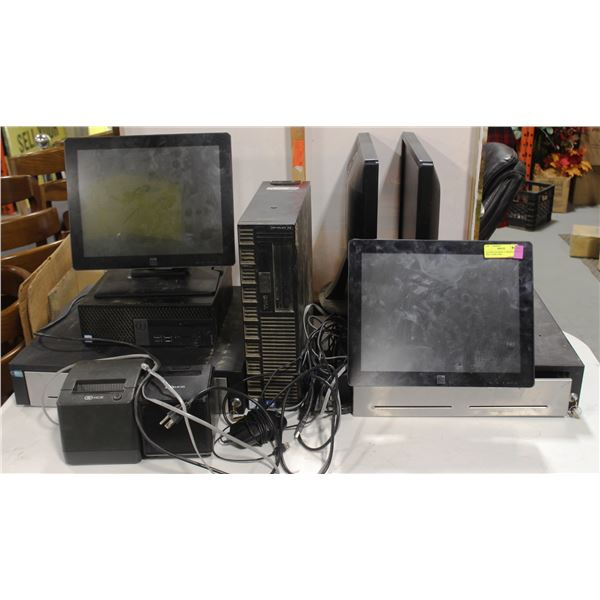 ELO POS SYSTEM W/ 2 TERMINALS, 2 DELL COMPUTERS,