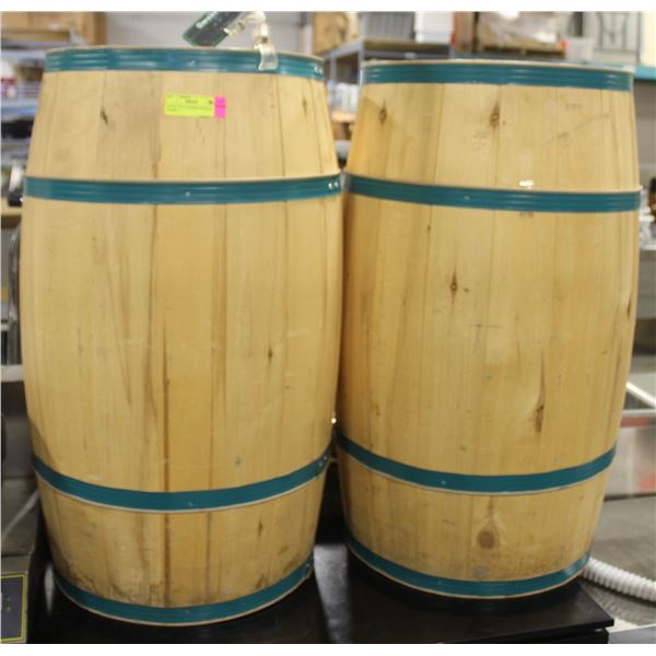 LOT OF TWO WOODEN PRODUCE BARRELS