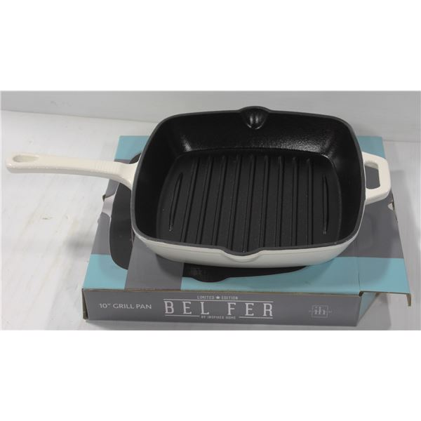 """NEW 10"""" SQUARE ENAMELED CAST IRON GRILL PAN"""