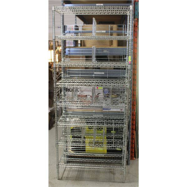 3' HD COMMERCIAL CHROME WIRE STORAGE RACK-8 TIER
