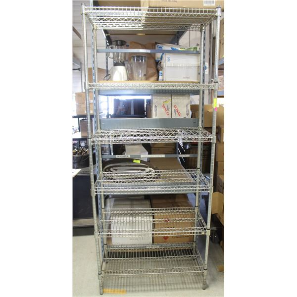 3' HD COMMERCIAL CHROME WIRE STORAGE RACK-6 TIER