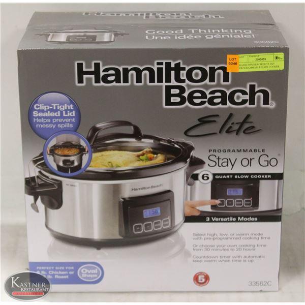 HAMILTON BEACH ELITE 6QT PROGRAMMABLE SLOW COOKER
