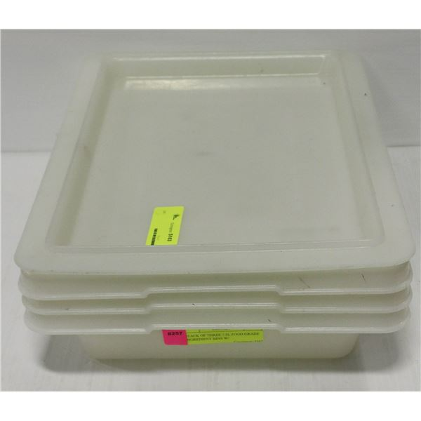 STACK OF THREE 7.5L FOOD GRADE INGREDIENT BINS W/
